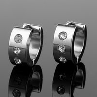 Wholesale men white gold diamond earring - Stainless Steel Crystal Earrings Studs Crystal Diamond Piercing Ear Hook Gold black fashion Hip Hop Jewlery for Women men DROP SHIP 170854