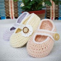 Wholesale Baby Girl Pre Walker Shoes - Spring Autumn Crochet Baby Girls Mary Jane Slipper Flower Shoes Newborn Toddler Infant Kids First Walkers Shoes Pre-Walkers Indoor Soft Sole