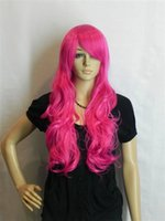 Wholesale Dark Rose Red Wig - Hot Sell! New Dark Pink   Rose red Long Straight Wavy Cosplay women Wig