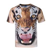 Wholesale Large Art Work - Works of art clothing Tiger 3D printing large size men's shirt men's short sleeve t-shirt