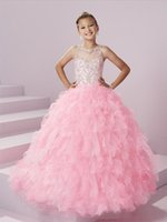Wholesale Images Beauty - 2017 Beauty Pink Flower Girls Dresses Ball Gown Ruffels Tiered Organza Girls Pageant Gowns With Beading Sequins Princess Gowns