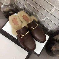 Wholesale Burgundy Fur Wool - 2017 Luxury Brand Horsebit Plush Fur Slippers Princetown In Pelle Foderata E Rifinita In Pelliccia Di Agnello Wool Loafer Shoes 2017gg