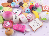 Wholesale Toast Bread Bag - Kawaii Squishies Bun Toast Donut Bread for cell phone Bag Charm Straps Wholesale mixed Rare Squishy slow rising lanyard scented 10pcs lot