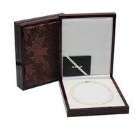 caixas para vender jóias venda por atacado-Venda quente 0588 caixa de colar de pérolas de imitação de couro padrão de madeira caixa de presente de jóias