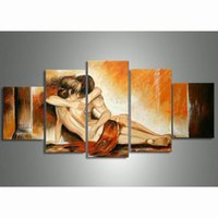Wholesale Naked Oil Painting Women - Nude Oil Paintings Couple Naked Woman Men Sex Pictures Modern Abstract Acrylic Paintings Hand Painted Oil Painting 5 Panel Art