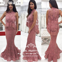 Wholesale Designer Mother Dress Jackets - Sexy Vintage Lace Mermaid Evening Dresses with Jacket 2017 High Neck Plus Size African Arabic Designer Long Formal Mother of the Bride Dress