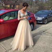 Wholesale Evening Dresses Tull - Sexy Crystal Formal Evening Dresses 2017 New Tull 1 2 Sleeve A Line V Neck Prom Dresses Party Gown Custom Made Plus Size