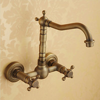 Wholesale Bronze Wall Faucet - Antique Brass Wall Faucet Wall Vintage Faucet With 2 Handles 2 Holes Hot And Cold Plate Bathroom Wall Faucet