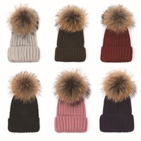 Wholesale Real Fur Head - Quality Removable Real Racoon Dog Fur Pom Knitted Acrylic Beanies Winter Head Warmer Fur Ball Hats For Adults Mens Womens Slouchy Snow Cap