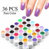 ingrosso diy uv-All'ingrosso-36 Pure Color Gel UV Nail Art Tips Decorazione fai da te per unghie Manicure Gel Nail Polish Extension Pro Gel vernici Strumenti di trucco