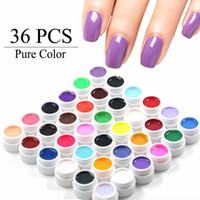Wholesale Diy Gel Polish - Wholesale-36 Pure Color UV Gel Nail Art Tips DIY Decoration for Nail Manicure Gel Nail Polish Extension Pro Gel Varnishes Makeup Tools