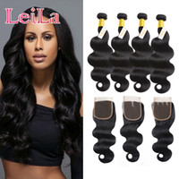 Wholesale Malaysian Hair Free Shipping - Malaysian Virgin Hair Body Wave 4 Bundles With Lace Closure 5 Pieces Human Hair Natural Color Unprocessed Human Hair Free Shipping