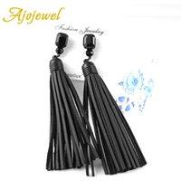 Wholesale Designer Handmade Earrings - Ajojewel Trendy Vintage Black Glass Crystal Long Tassel Designer Handmade Red   Black Leather Earrings For Women