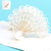 Wholesale Peacock Invitations - Wholesale New Creative Peacock Invitation Card Art 3D Folding Greeting Cards Customized Birthday Christmas Gift free shipping