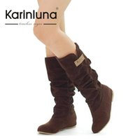 Wholesale Sexy Ladies Heel Knee Boots - Wholesale-Free Shipping 2016 Newest Winter Woolen Lady Snow Boots Brand Hidden Wedge Heel Sexy Women Knight winter Boots JHB136