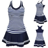 Wholesale Spandex Two Piece Dress - 2017 Newest Women School Sporty Style Swimwear Navy Stripes Print Tankinis Two Pieces Dress Swimsuits Plus Size M To 3XL