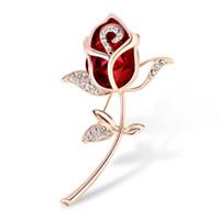 strass brosche kristall roségold großhandel-18K Gold plattiert Rose Blume Crystal Broschen Strass dekorative Kleid Schmuck Brosche für Frauen Hut Tasche Schal Zubehör Großhandel