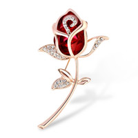 Wholesale red rose scarf - Decorative Dress Jewelry Crystal Rose Flower Brooch Pin Rhinestone Alloy Gold Rose Brooches for Hat Bag Scarf Bijoux Accessories Wholesale