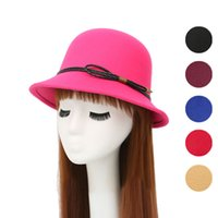 British Style Autumn Winter Women Wool Felt Fedoras with Leather Rope Trend  Ladies Girls Stingy Brim Bucket Hats Dome Top Hats 83c255dec0d0