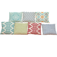 Wholesale pillow cover geometric - Geometric Pattern Linen Linen Cushion Cover Home Office Sofa Square Pillow Case Decorative Cushion Covers Pillowcases Without Insert(18*18)