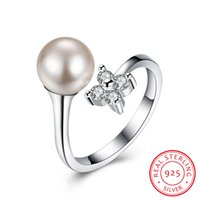 Wholesale Handmade Pearl Rings - 925 Sterling Silver Resizable Ring Natural Pearl White Cubic Zirconia Christmas Gift Wedding Handmade Promise Ring SVR038