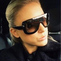 Wholesale Wholesale Ladies Butterfly Tops - Wholesale-New 2016 Oversized Sunglasses Rivet ADELE CL Brand Designer Celebrity Kim Kardashian Women Sexy Sun Glasses Flat Top Lady Female