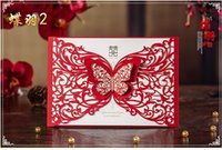 Wholesale Cutting Sticker Decor - Red Laser Cut Wedding Invitations Card with Envelope Seal Sticker Butterfly Decor Wedding & Events Favor Supplies Customized 30Pcs CW504