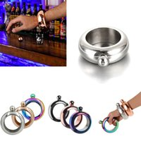 Wholesale New Arrive Bangle Bracelet Hip Flask oz Stainless Steel Rainbow Liquid Alcohol Vodka Whiskey Drinkware Alcohol Funnel Hip Flasks DHL