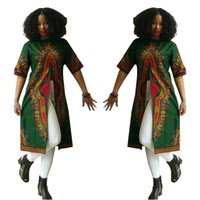 Wholesale Womens African Clothing - enthic clothing hot new fashion dashiki pattern african printed short sleeve round neck split dresses for womens
