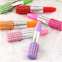 Wholesale Lipstick Pens Rhinestones - Rhinestone Sexy Lipstick Shape Office Stationery Ballpoint Ball Pen Lipstick Shape ball-point For Writing Cute Stationery Gift Pen 200pcs