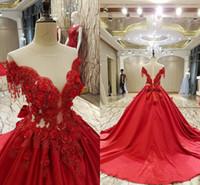 kırmızı dikiş topu önlük toptan satış-Lüks Kırmızı Balo Abiye Kapalı Omuz Aplikler Saten Sheer Geri Gelinlik Modelleri Illusion Korse Quinceanera Elbiseler Tatlı 16 kıyafeti