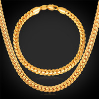 "Wholesale Golden Chain Set - 18""-32"" Men Gold Chain 18K Real Gold Plated Wheat Chain Necklace Bracelet Hip Hop Jewelry Set"