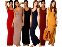10pcs Frauen Weste Tank Maxi Kleid Seide Stretchy Casual Sommer Lange Kleider Sleeveless Backless Lady Dress M079