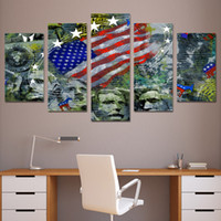 Wholesale Artwork Canvas 5pcs - 5Pcs Set Framed HD Printed USA Flag Mount Rushmore Wall Art Canvas Print Poster Canvas Pictures Abstract Oil Painting Artworks