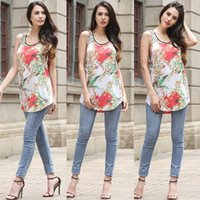 Wholesale Long Vest Tops Women - new ladies shirts long floral printed red casual slim sleeveless top tanks blouses for lady vest underwaist