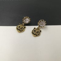 Wholesale Animal Vintage Earrings - New brand Vintage Metal Leopard Stud Earrings for Women Fashion Jewelry Gold earring Rhinestone brincos pendant Punk Bijoux accessories 2017