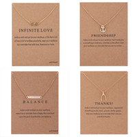 Wholesale Necklaces Anchor Pendants - With card Dogeared Necklaces Gold Plated infinity LOVE Friendship Anchor Balance bar Thanks Bone Pendant Necklace For Fashion women Jewelry