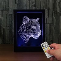 3D Leopard LED Photo Frame IR Remote 7 RGB Lights AAA Battery ou DC 5V Factory Wholesale Dropship Frete Grátis