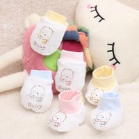 Wholesale Yellow Mittens - 100% cotton 0-6 months Newborn baby mittens cartoon face anti grasping breathable and warm infant gloves 3 colors Hot Selling