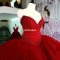 Wholesale Heavy Gowns - Luxury Heavy Beading Red Quinceanera Dresses Long Puffy Ball Gown Crystal Sweetheart Tulle Vestidos De 15 Prom Dress For Girls