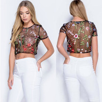 Wholesale Short Sleeve See Through Blouse - Womens Celeb Mesh Sheer Flower Embroidered Blouse Summer See Through Sexy Crop Top T Shirt Party Clubwear