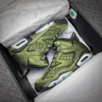 Wholesale Leather Summer Jacket - Air Retro 6 Flight Jacket Pinnacles Basketball Shoes Sneakers Men Nylon Army Green Top Quality With Original Box 2017 AH4614-303