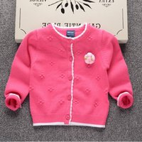 Wholesale Pink Lolita Coat - Baby girl Sweater Sweet Flowers corsage Jacqurd Cardigan Soft Cotton Sweaters Coat Children clothing 2017 Pink rose Purple Wholesale