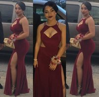 Wholesale Hot Jersey Girls - 2017 Burgundy Mermaid Prom Dresses Cutouts Split Long Sexy Maroon Evening Gowns Hot Black Girl Fashion Couples Prom Party Gowns BA2437