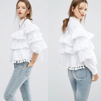 Wholesale Collar Decorated Ladies - Women Layers Ruffles White Blouse 2017 Desinger Fashion Spring Summer Lady Stand Collar Black Long Sleeve Shirts With Balls Tassles Decorate