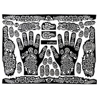 gabarits pieds achat en gros de-Wholesale-Tattoo Templates Mains / Pieds Henna Tattoo Stencils pour Airbrushing Mehndi Body Painting