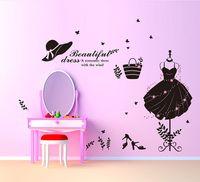 pegatinas de pared vestidor al por mayor-Hermoso vestido de etiqueta de la pared DIY vestido de noche arte de la pared Decal para el día de San Valentín para el dormitorio de las niñas habitación y decoración de la ventana de la tienda