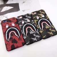 Wholesale Lover Phone Cases - 3D Cartoon Phone Case for iphone X iphone 8 7 6 6S plus hard PC cameo defender case camouflage shark protector case lovers design GSZ254