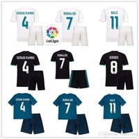 Wholesale Custom Black Football Jerseys - JS-006- SERGIO RAMOS RONALDO KROOS BALE ISCO Real Mad Set Home Away Third 17 18 Soccer Jerseys + Shorts Custom Football Uniforms Kit