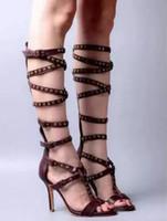 sandalias marrones peep toe al por mayor-2017 verano rodilla botas altas sandalias de cuero marrón gladiador botas de las mujeres con cordones botines mujer botas zapatos de fiesta de tacón delgado trasero abierto